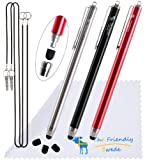 """Thin Tip Premium Stylus Pens - Bundle of 3 High Precision Universal Stylus Pens with 3 Replacement Tips and 2 x 15"""" Elastic Tether Lanyards - Stainless Steel and Aluminium - Retail Packaging (Red/Black/Silver, 5.5-inch)"""