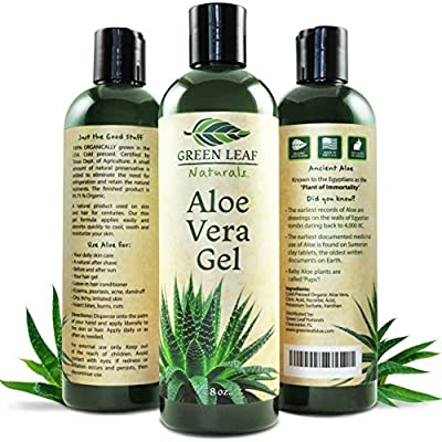 Aloe Vera Gel for Natural Skin Care - Cold Pressed from Pure Organic Aloe Plants - Made in USA - Thin Gel Formula - Perfect for Sunburn, Aftershave, Hair Gel, Moisturizer, Burns, Bites & more