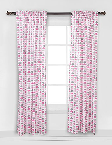 Elephants Pink/Grey Mini Elephants Curtain Panel
