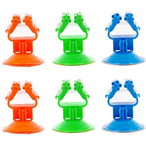 Zicome Strong Colorful Suction Cup Mop Broom Holder Organizer, Set of 6, Green, Orange, Blue (Broom Closet Shelf compare prices)