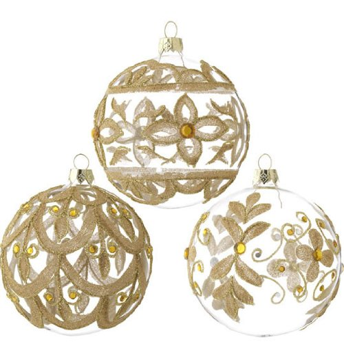 RAZ Imports – Clear and Gold Beaded Glass Ornaments