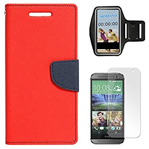 DMG Diary Wallet Flip Cover Case for HTC One M8 (Red) + Exercise Workout Armband + Matte Screen