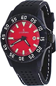 Le Chateau #7075MGUN_RED Men's Dynamo Collection Red Dial Silicone Band Automatic Watch