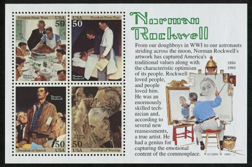 1994 NORMAN ROCKWELL #2840 Souvenir Sheet of 4 x 50 cents US Postage Stamps