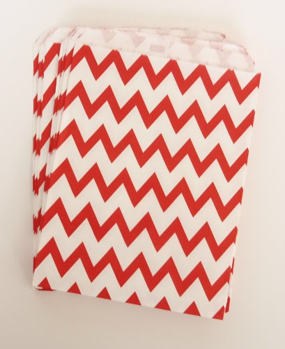 Homemade Sweets Goody Bag, Red Chevron (25 Pack) - Party Favor Ideas To Fill With Muffins, Cupcakes, Candies Or Caramels front-568582