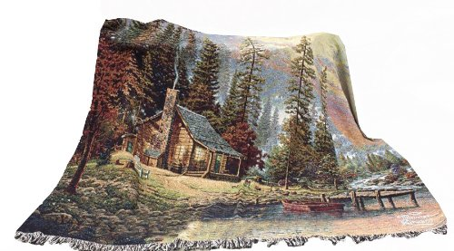 Manual Thomas Kinkade 60 X 50-Inchtapestry Throw, A Peaceful Retreat