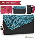 TEAL ZEBRA & BLACK [Safari Link] | Women's Wallet Wrist-let Shoulder B... Promotion