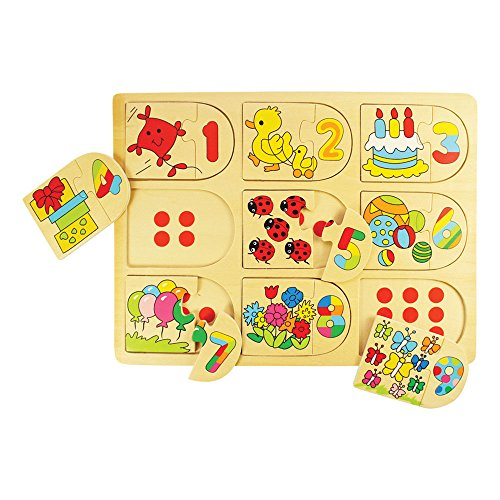Bigjigs Toys BJ535 Picture and Number Matching Puzzle - 1