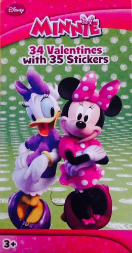 Disney Minnie Mouse Valentines 34 Valentines and 35 Stickers !