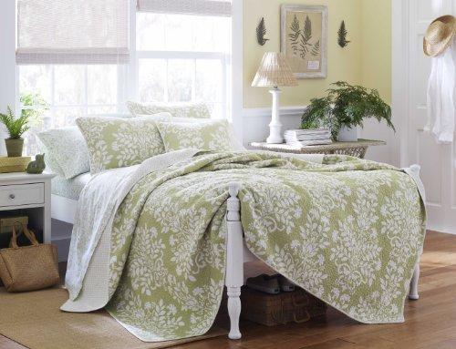 Laura Ashley Rowland Quilt Set, Full/Queen, Sage (Green Quilt compare prices)