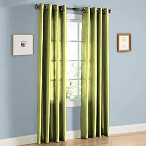 Hlc Me Pair Of Sage Green Faux Silk Grommet Curtain Panels 58 By 95 Inch Home