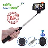 Bluetooth Selfie Stick - Extendable Handheld Monopod Camera Stick - Free Bonus - Built-in Remote Shutter for Iphone 6 5 4, Samsung S3 S4, Blackberry, HTC, Sony, Nokia, LG, Amazon Fire - Compatible with IOS 4.0 / Android 3.0 (Black)