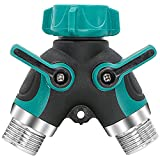 Garden Hose Splitter, Rusee Metal 2 Way Y Ball Valve Hose Connector with Comfortable Rubberized Grip & Shut-Off Valves for Home Lawn Outdoor Faucet, Sprinkler & Drip Irrigation Systems