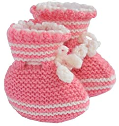 Knitted Baby Girl Booties, Size: 0-6 M, Color: Pink