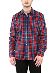 American Crew Men's Full Sleeve Checks Shirt With Pocket (Navy Blue & Red)