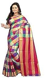 Veer Prabhu Creation Women's Cotton Saree with Blouse Piece (Multi Colour)