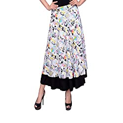 Dream Fashion Reversible Magic Multi Wear Wrap Around Digital Graphic Print Skirts Covertible To Dresses For Women's Girl's (Size_Large_Long Skirt_Graphic Print Wrap Skirt)