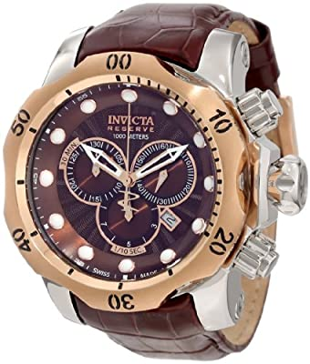 Invicta Men's 10779 Venom Chronograph Brown Dial Brown Leather Strap Watch