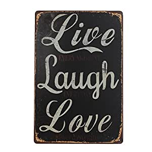 king do way live laugh love r tro murale plaque d corative enseigne m tal d cor metal sign. Black Bedroom Furniture Sets. Home Design Ideas