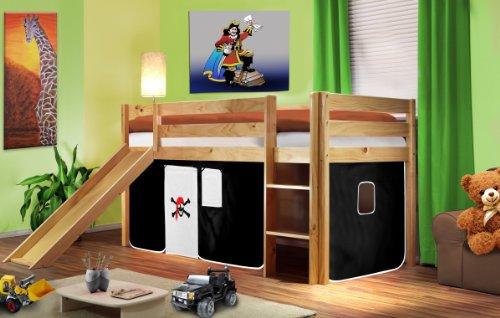 SixBros. Kids Letto rialzato Letto a soppalco Pirata cameretta bambino con scivolo pino massiccio verniciato/naturale - bianco/nero - SHB/05/1033