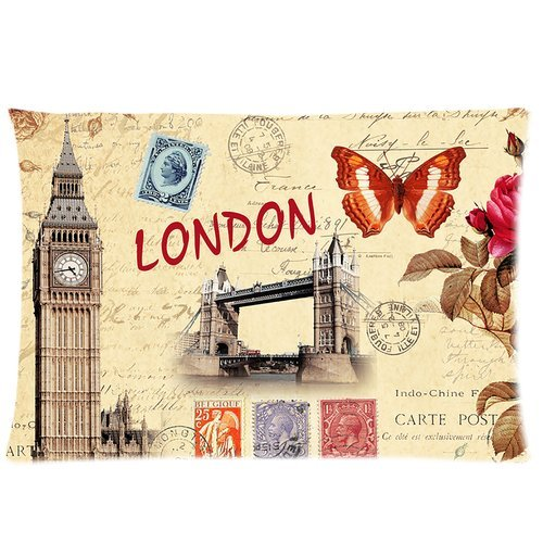 London Big Ben Tower Bridge Stamps Retro Pattern Custom Zippered Bedding Pillowcase Pillow Case Cover 20X30 (Twin Sides) front-844719