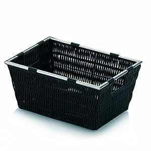 kela 21570 panier de rangement plastique tress inox noir 29 x 21 x 14 cm 39 noblesse 39. Black Bedroom Furniture Sets. Home Design Ideas