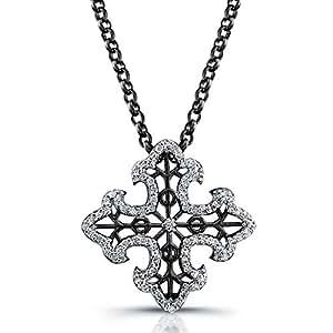 "Victoria Kay 1/4ct White Diamond Cross Pendant in Sterling Silver with Black Rhodium, 16"""