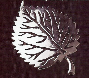 Norwegian Bjerk Hoyde Pewter Birch or Aspen Leaf Brooch Pin