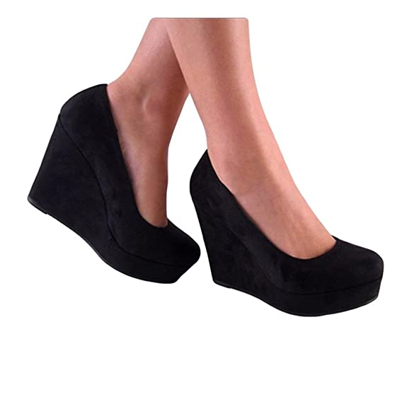 "Cool Soda ""Beer"" Shoes Round Toe Wedge Pump Platform For Women Clearance"