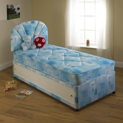 LEO CHILDREN'S KIDS Blue Divan BED Set, 4 DRAWERS with MATTRESS + HEADBOARD included, Size: 4ft Small Double - other sizes available
