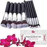 Professional Makeup Brushes, 10 Piece Set, Vegan, With Plastic Handles, Great For Applying Concealers, Foundations...