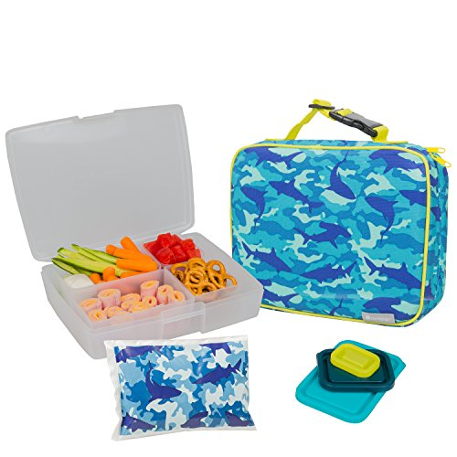 Bentology Lunch Bag and Box Set for Boys - Includes Insulated Sleeve with Handle, Bento Box, 5 Containers and Ice Pack - Camo (Bento Box With Ice Pack compare prices)