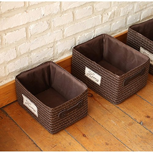 Wicker Storage Basket Books Crafts Cosmetic Box Household Desktop Sundries Furnishing Decorative Reto Organizer 261914Cm^Brown (Expresso Storage Bins compare prices)