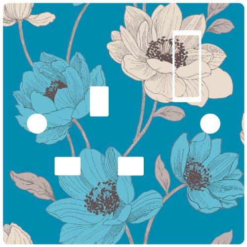 blue-floral-light-switch-sticker-vinyl-sophie-conran-bohemia-teal-wallpaper-single-power-socker-type
