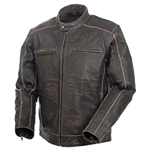 Mens Nomad Premium  Leather Jacket  Distressed Brown Size 50