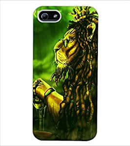 ColourCraft The Lion Look Design Back Case Cover for APPLE IPHONE 5