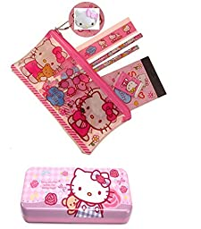 Hello Kitty Large School Supply Case With Metal Pencil Case, HK:School-1