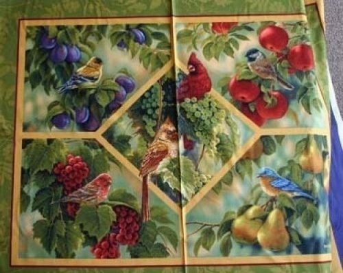 Birds and Fruit Trees Songbirds Bird Cotton Fabric Panel 36