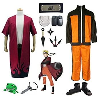 Naruto Cosplay Kit Cloak Shoes Headband Frog Purse,xl