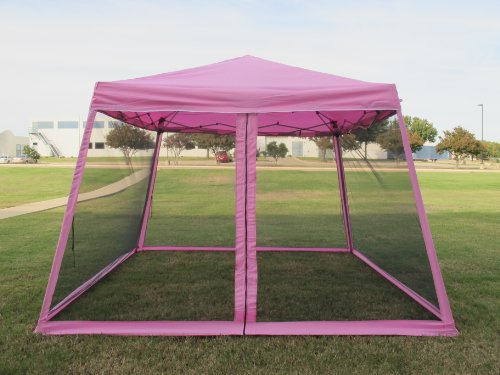 8X8 /10X10 Pop Up Canopy Party Tent Gazebo Ez With Net (Pink) front-97947