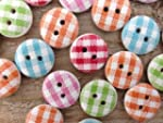Gingham Painted Wooden Buttons In Mix...