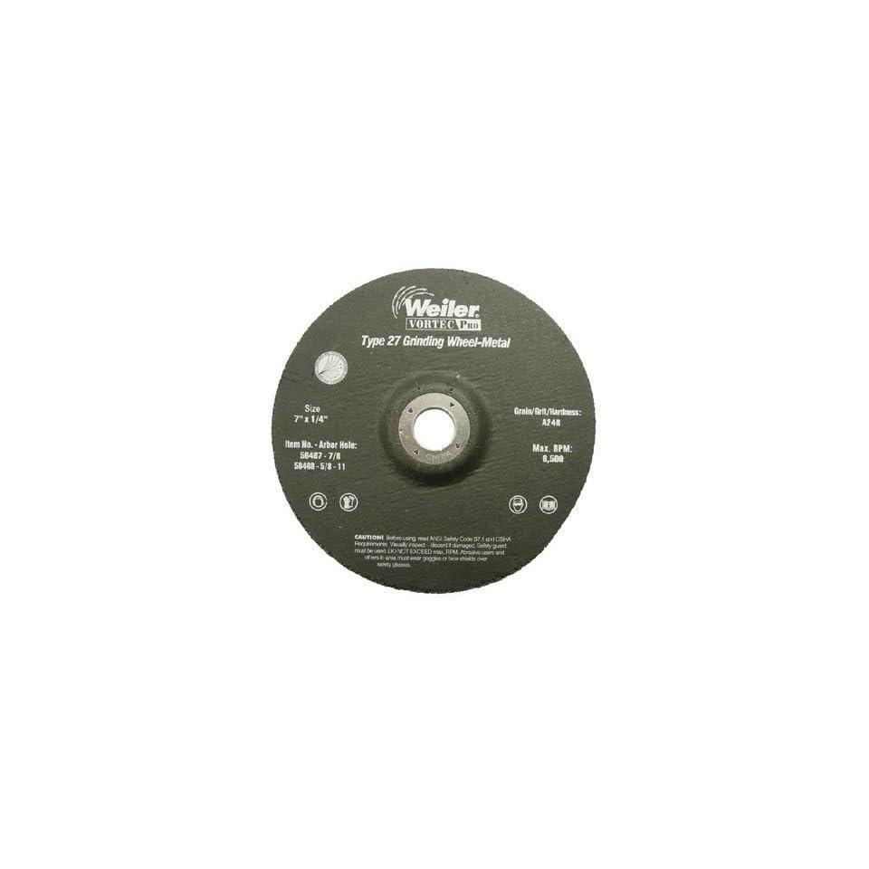 Weiler Vortec Pro Type 27 Grinding Wheels 7 X 1/4 A24R 7/8 Ah 804