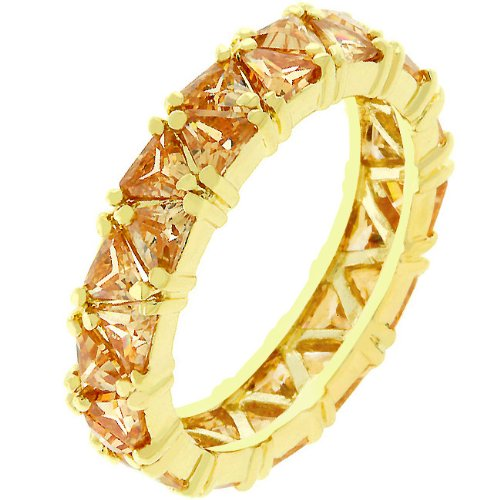 Eternity 14k Yellow Gold Plated 2.8 CT CZ Champagne Ring Size 9