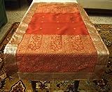 Rust Silk Sari Table Runner Throw