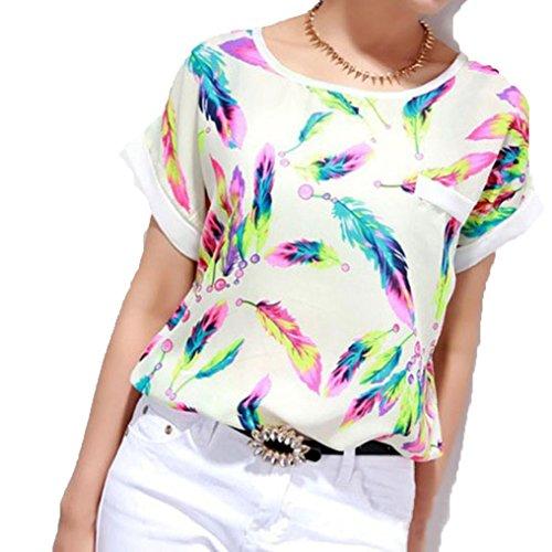Usstore Women Summer Chiffon Blouse Feathers Short Sleeve Loose T-Shirt (M)
