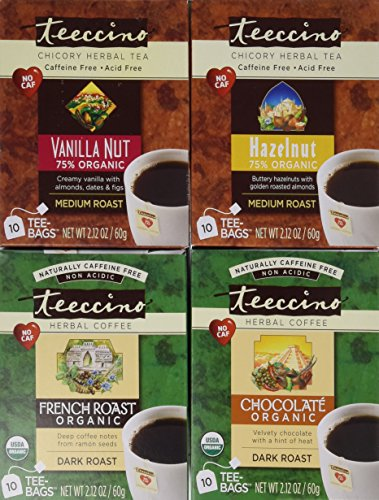 Teeccino Coffee Alternative Variety Pack - 10 Tee-Bags of each - Chocolate, French Roast, Hazelnut and Vanilla Nut (Alternative Coffee compare prices)