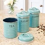 Vintage Blue Tea Coffee and Sugar Can...