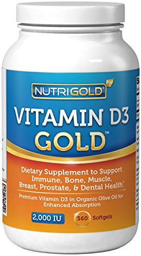 Nutrigold Vitamin D3 Gold , 2000 IU, 360 softgels