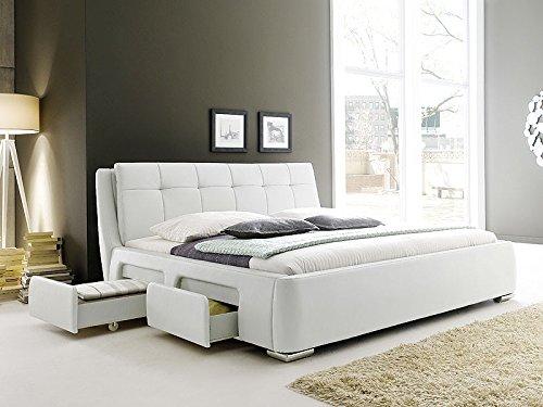 Polsterbett weiss Bett 180×200 Kunstleder 4x Schubkasten Bettgestell Doppelbett Designerbett Alvaro günstig kaufen