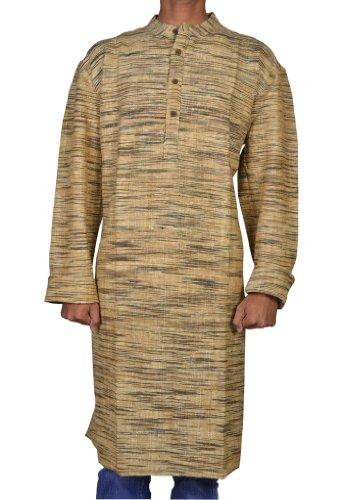 Hand Made Casual Wear Indian Khadi Mens Long Kurta Fabric For Winter & Summers Size 4XL